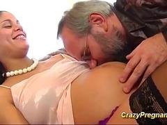 Pregnant babe gets fucked by an old guy