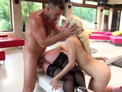 Tight hot blonde that enjoys anal sex is getting fucked with a couple