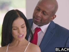 BLACKED Hot Megan Rain Gets DPd By Her Sugar Daddy and His Friend
