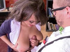 Slutty schoolgirl gives her bespectacled mate to become a man