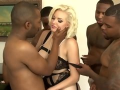 Jenna Ivory gangbanged by a group of four horny black guys
