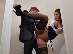 Susy Gala gives blowjob through gloryhole and gets fucked hard