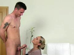 Female casting agent jizzed on hairy pussy