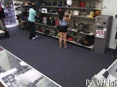 Small tits babe loses her clothes in pawn shop and fucks