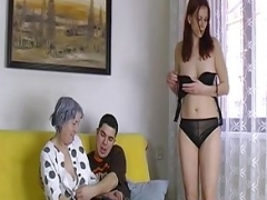 OmaHoteL Undressed Couple and Granny Toys Threesome
