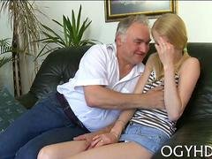 Skinny tall teen blonde getting fucked from the rear on couch