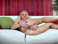 Sexy blonde Alix plays with herself while we watch