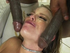 interracial gangbang with Britney Amber and four muscled boys