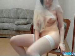 russian beauty on webcam with chair clip