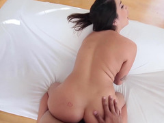 A busty cutie is going crazy from all the fingering that she is getting
