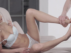 Tina Kay lets him cum on her sexy bare feet