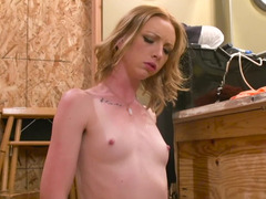 Skinny and sweet blonde with tiny nipples is giving a blow job