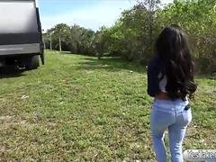 Massive boobs babe gets screwed in public for some money