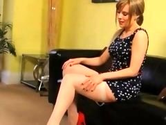excited girl teasing at home in shoes