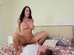 A busty mom loves riding on top of that strapping prick of a friend of her son