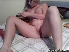 blonde and busty playing with a fat dildo clip