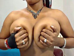 Sweet Brown Ebony shows her big boobs