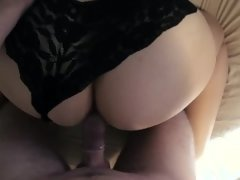 The girl with a big ass in black panties fucked with me.