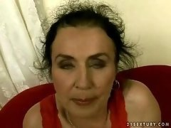 Ugly granny sucking cock and also riding youthful love tool