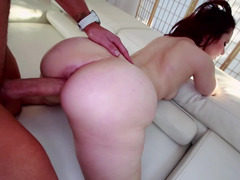 White chick with a giant ass is giving a fine blow job to a dude