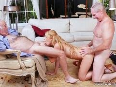 Blonde babe with a beautiful body gets rammed by two old farts