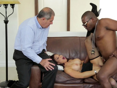 Old husband asks professional fucker to make his wife happy