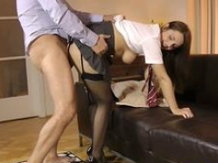Boobalicious schoolgirl doggystyled by mature man