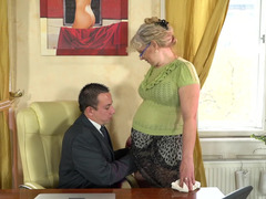 Granny secretary gives her boss a blowjob and a bang