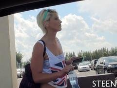 Sexy blonde with short hair rides with a horny guy