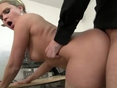 Blonde gets naked in the office and then she gets fucked hard