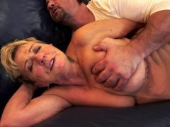 Curvy blonde GILF gets rammed by a handsome European porn actor
