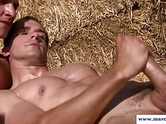 Muscled straight farmboys assfuck on hay bale