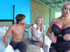 Two hot women are doing a threesome with a handsome athletic dude