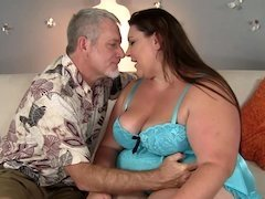 BBW on her back opens her legs for big cock sex