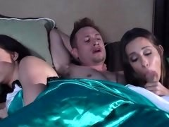 A wife and a homeless girl are fucking a man in a threesome