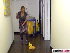 Blonde cleaning lady seduced into banging on couch
