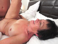 A fat old woman feels a big hard dick in her fat saggy body