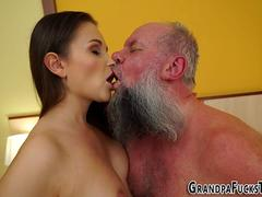 Tiny babe hottie is excited to suck that big fat pecker and get pounded in various positions by this handsome old man