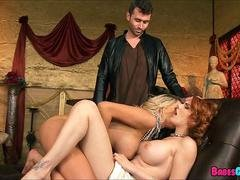 Perfect Threesome with Big Tit Redhead and Blonde