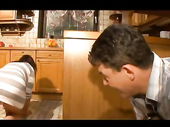 Chubby mom masturbates and smashes in the kitchen