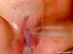 Pale beauty blushes while masturbating in shower