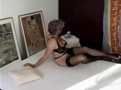 sexy granny in black stockings getting fucked