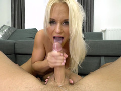 Beauty with perfect tits fucked in doggystyle on couch
