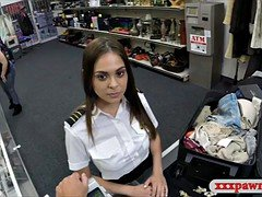 Stewardess sells her stuffs and rammed in pawnshop toilet