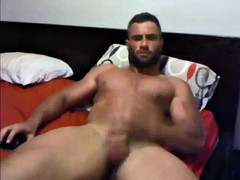 muscle str8 dad jerks and cums