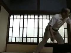 Japanese geezer bangs a hot young wife in the kitchen