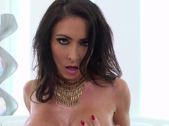 A brunette with pointy nipples is sucking and riding a dick
