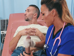 Nurse helps a patient have the orgasm he needs
