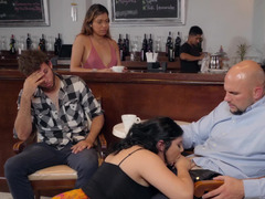 Brunette female with big ass and boobs fucks in the bar