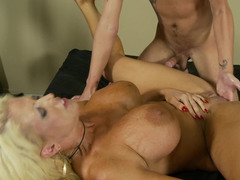 Raunchy blonde whore with huge natural knockers craves a big dick